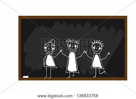 The children draw chalk on a blackboard. Happy and fun children. Hand draw. Doodle, hand drawn sketch, scribble. Vector illustration