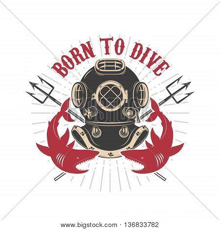 Vintage diver helmet with trident and sharks. Design elements for logo label emblem sign.