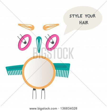 Owl made of hair accessories. Do yourself hairstyle. Vector illustration.