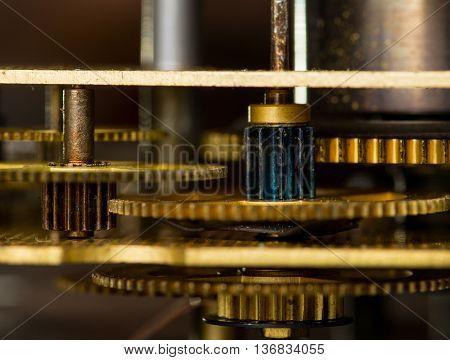 Vintage antique gold clockwork mechanism. Macro shot