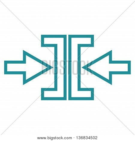 Pressure Arrows Horizontal vector icon. Style is contour icon symbol, soft blue color, white background.