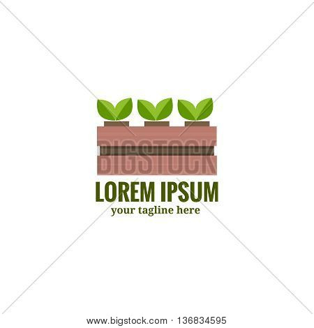 Vegetable Garden Box with plants. Agriculture logo. Symbol of