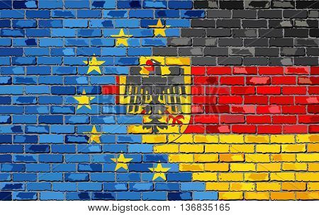 Brick Wall European Union and Germany flags - Illustration, Abstract grunge EU and Deutschland flags