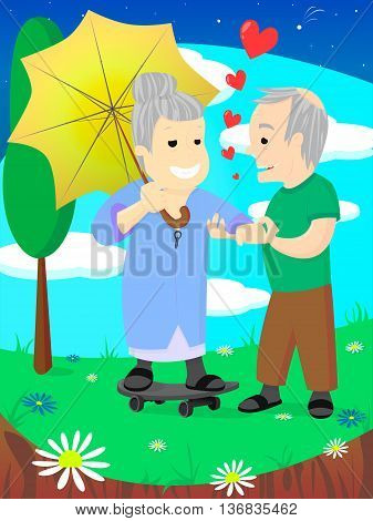 Old family, elderly couple in love, celebrate wedding date, women with umbrella on skate, man holding her