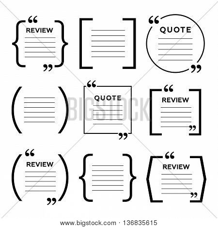 Quote frames. Blank template with print information eps10