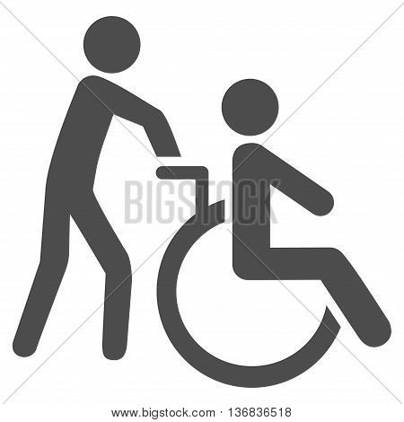 Disabled Person Transportation vector icon. Style is flat icon symbol with rounded angles, gray color, white background.