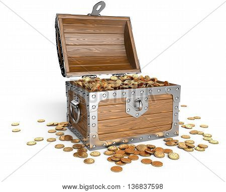 Open wooden treasure chest with golden coins. Isolated on a white background 3d image.