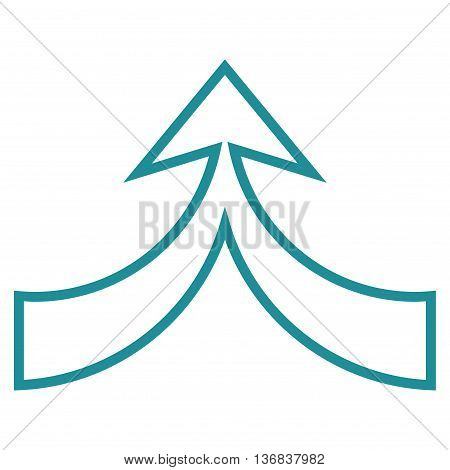 Unite Arrow Up vector icon. Style is thin line icon symbol, soft blue color, white background.
