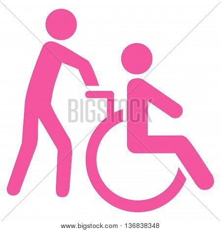 Disabled Person Transportation vector icon. Style is flat icon symbol with rounded angles, pink color, white background.