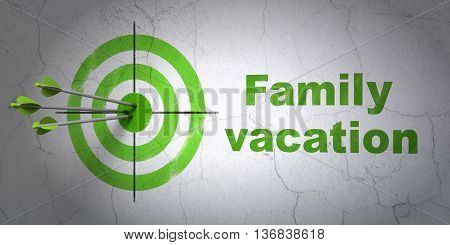 Success travel concept: arrows hitting the center of target, Green Family Vacation on wall background, 3D rendering