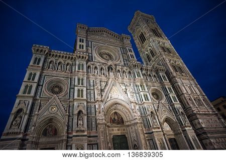 Santa Maria Del Fiore Cathedral, Also Called Duomo, At Night, Tuscany, Italy