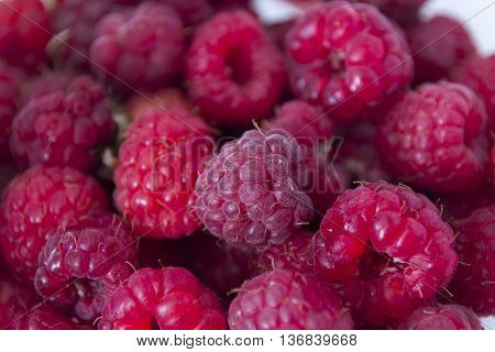 Detail of red rasberry of pink color image