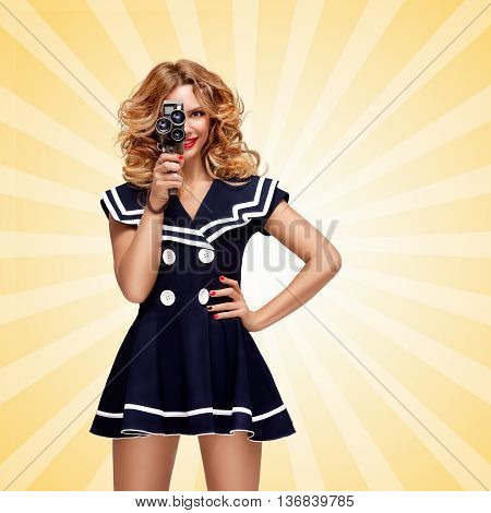Pin-up sailor girl with a vintage cinema 8 mm camera shooting a movie on cartoon style background.
