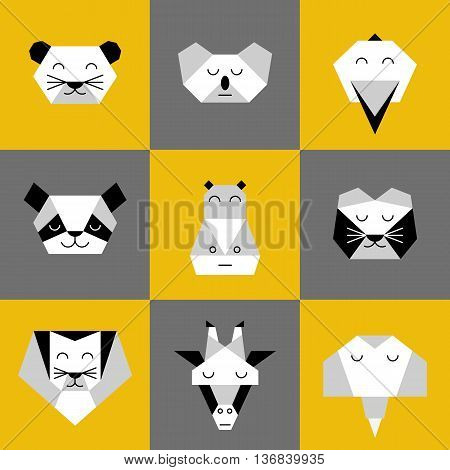 Stylized vector animals. Animal triangle heads. Vector origami animals. Geometric line design icon set. Vector origami animals for tattoo or coloring book. Vector origami jungle animals collection.