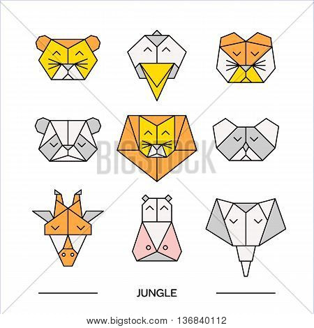 Low poly front view animal heads. Animal polygonal. Vector low poly animals. Low poly line design icon set. Vector low poly animals for tattoo or coloring book. Low poly jungle animals collection.
