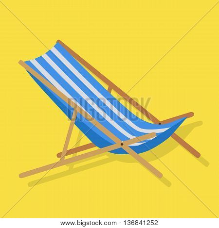 Flat design simple blue white stripes summer beach sunbed lounger chair wood isolated on yellow. Vector illustration