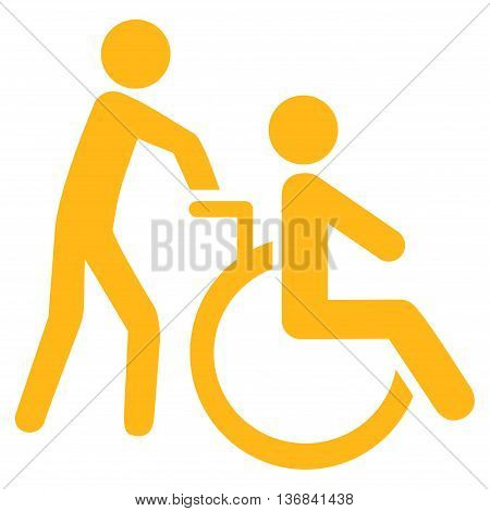 Disabled Person Transportation vector icon. Style is flat icon symbol with rounded angles, yellow color, white background.