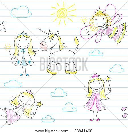Seamless background with happy fairies. Sketch on notebook page. Endless texture can be used for pattern fills, web page background, baby and scrapbooking design