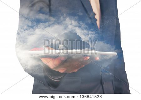 Close Up Of Businessman With Tablet And Cloud Double Exposure Isolated On White