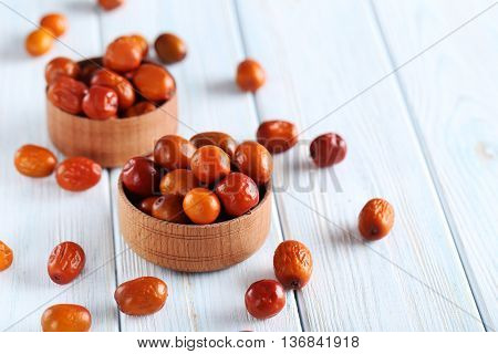 Ripe Jujubes On Blue Wooden Table, Close Up
