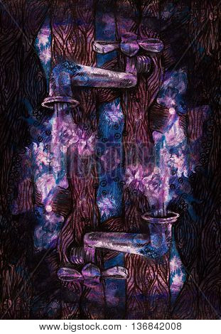decorative background drawing of water tabs pouring stars.