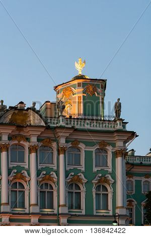 Detail of the Winter Palace (Hermitage) summer evening.