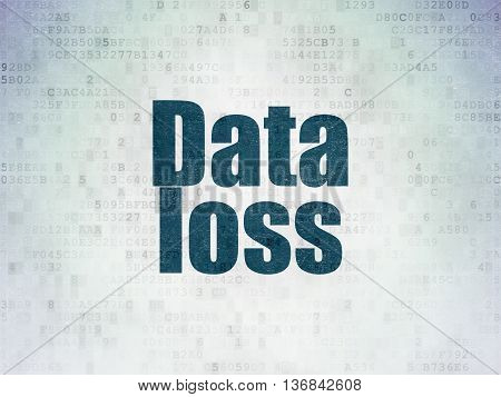 Information concept: Painted blue word Data Loss on Digital Data Paper background