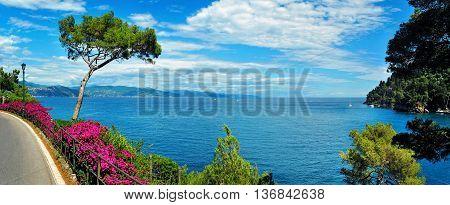 panoramic view from Portofino -Santa Margherita Ligure on the Italian Riviera.