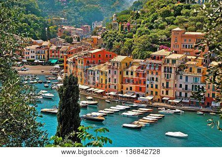 Village Portofino with colorful houses in little bay harbor. Liguria Italy
