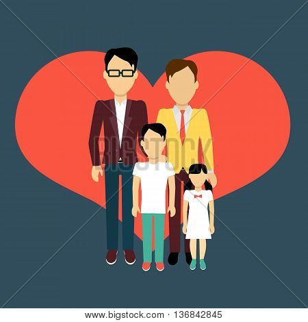 Happy family homosexual concept banner design flat style. Young family gay man and a woman with a son and daughter. Mother and father with child happiness lifestyle, vector illustration