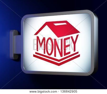Money concept: Money Box on advertising billboard background, 3D rendering