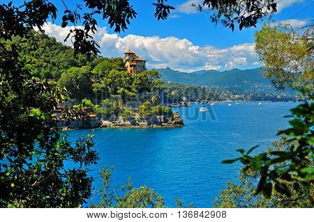 Seaside villas near Portofino bay in Italy