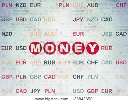 Banking concept: Painted red text Money on Digital Data Paper background with Currency