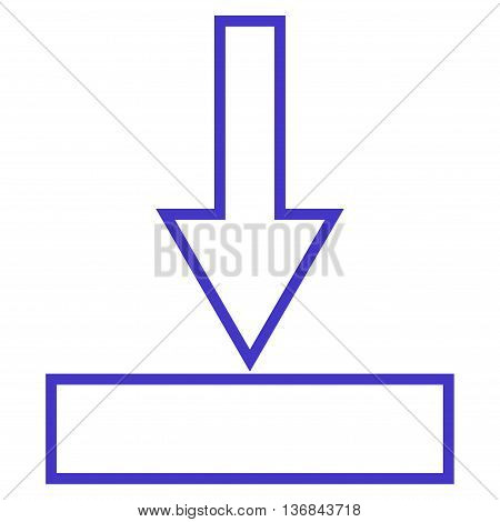 Push Down vector icon. Style is contour icon symbol, violet color, white background.