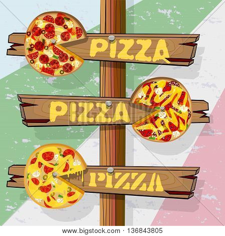 Signpost with three pointers pizza. Wood pizza with painted ingredients. Vector illustration with isolated objects.