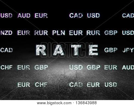Money concept: Glowing text Rate in grunge dark room with Dirty Floor, black background with Currency