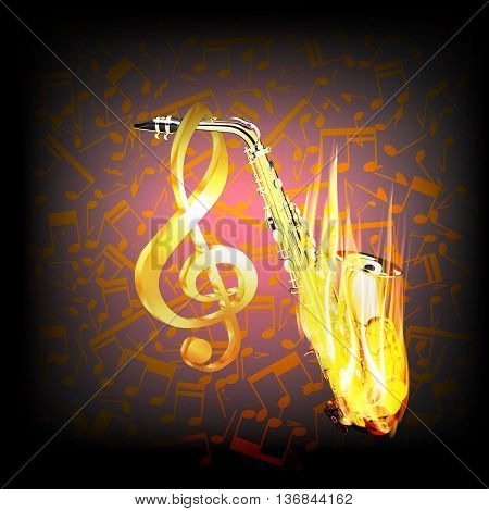 Vector illustration of a saxophone in the fire on the background with music notes. You can use any text or image on a black background.