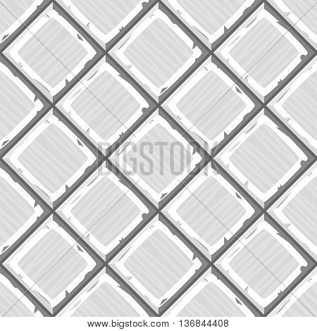 Cartoon Hand Drown White Old Diagonal Seamless Tiles Texture. Vector Illustration
