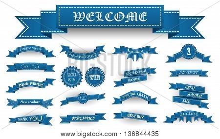Embroidered Blue Vintage Ribbons And Stumps With Business Text And Shadows Isolated On White. Can Be