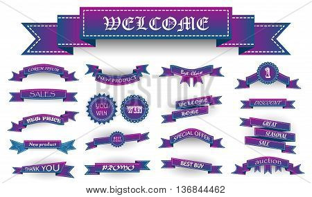Embroidered Blue And Violet Vintage Ribbons And Stumps With Business Text And Shadows Isolated On Wh