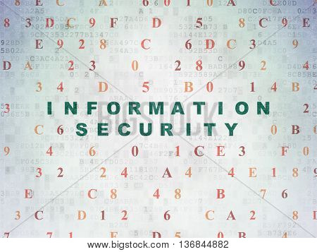 Security concept: Painted green text Information Security on Digital Data Paper background with Hexadecimal Code
