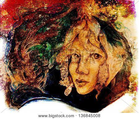 flower fairy face portrait in autumn colors.
