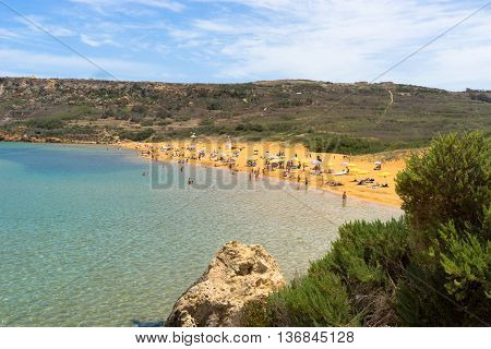 The red sands from San Blas surrounded by the hills of Nadur and Xaghra