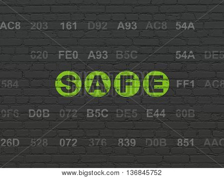 Protection concept: Painted green text Safe on Black Brick wall background with Hexadecimal Code