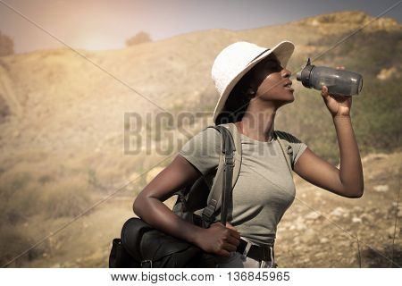 Thirsty girl in a hot day