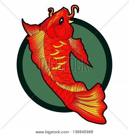 hand drawn koi fish tattoo. beautiful vector illustration of orange koi fish