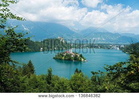 View of Lake Bled from Mala Osojnica, Slovenia