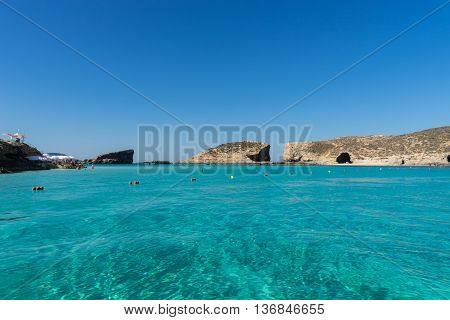 The Blue Lagoon in Comino gets his name from the blue colors of the water