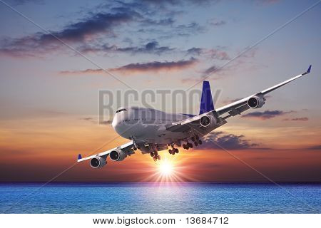 Jet Liner Over The Sea