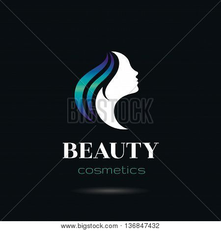 Elegant luxury logo with beautiful face of young adult woman with long blue hair. Sexy symbol silhouette of head with text lettering Beauty cosmetics on black background for hair dress, SPA salon